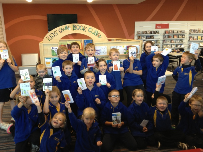 Class of year 3 & 4s in Port Pirie Community Library with their published books