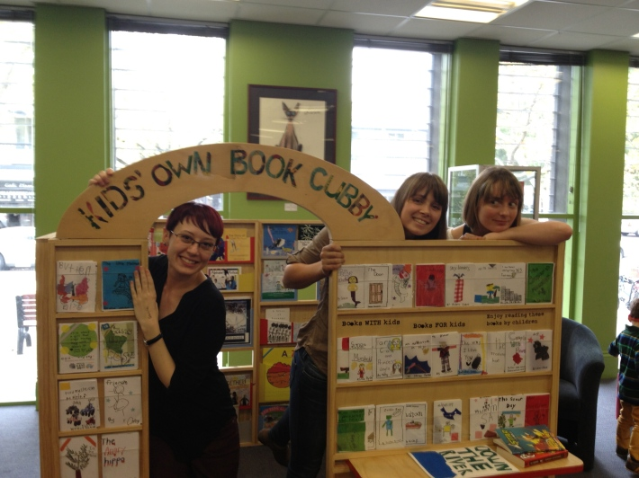 Author HJ Harper, Briony Barr from Kids Own Publishing and Myself with our travelling 'Book Cubby', full of books by children for children