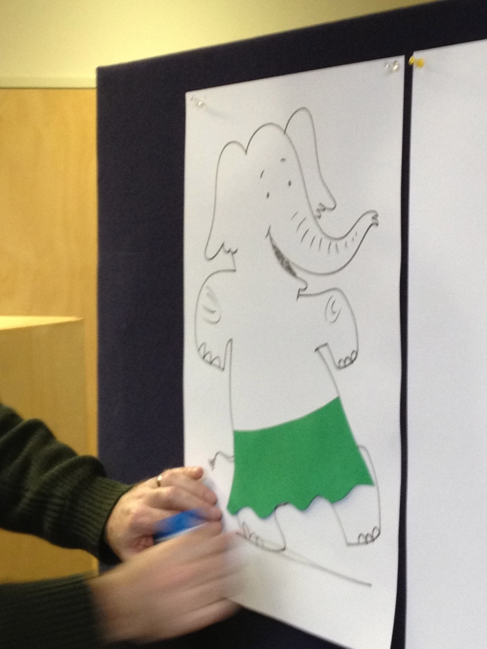 Andrew Joyner, my travel companion and illustrator of 'The Terrible Plop', shows students how to use collage to dress an elephant