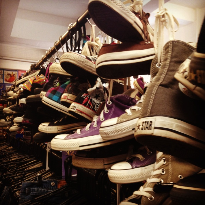 Mountains of second-hand shoes in Spitalfield
